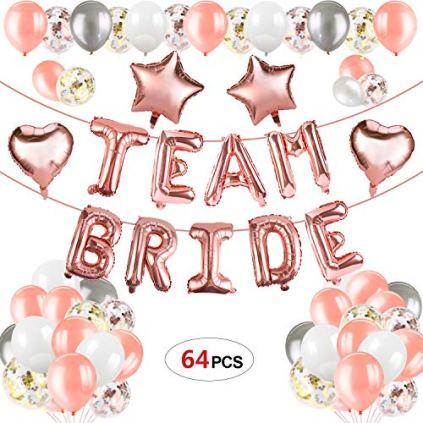 Howaf-64pcs-Hen-Party-Dcoration-Team-marie-Enterrement-Ballons-Rose-Or-Ballons-Confettis-Ballons-Fte-Ballon-baudruche-pour-Mariage-Dcoration-Enterrement-de-Vie-de-Jeune-Fille