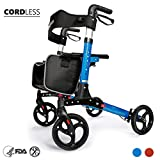 OasisSpace Ultra Folding Rollator Walker with Wide Seat 8'' Antiskid Wheels Compact Design Baking Finish Walkers for Senior (Blue)