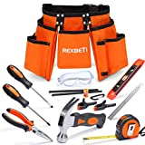 REXBETI 15pcs Young Builder's Tool Set with Real Hand Tools, Reinforced Kids Tool Belt, Waist 20'-32', Perfect Kids Learning Tool Kit for Home DIY and Woodworking