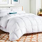 Linenspa All-Season Down Alternative Quilted Comforter - Hypoallergenic - Plush Microfiber Fill - Machine Washable - Duvet Insert or Stand-Alone Comforter - White - Twin