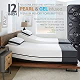 Ananda 12' Split King Pearl and Cool Gel Infused Memory Foam Mattress with Premium Adjustable Bed Frame Combo, Head Tilt, Massage, USB, Zero Gravity,Anti-Snore