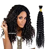 eCowboy High End Bulk Hair for Micro Braiding 100% Virgin REMY Human Hair Can be Dyed Bleached ABSORBS Color Well Deep Wave Curly great deal 1 bundles pack, 100g/bundle Natural Black 20 Inch