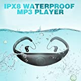 Tayogo Waterproof MP3 Player, IPX8 Waterproof Headphones for Swimming, 8GB Memory Can Download 2000 Songs, Swimming Earbuds, Work for 6-8 Hours Underwater 3 Meters, with Shuffle Feature