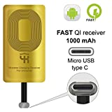 QI Receiver Type C for Google Pixel 2-2XL - XL - LG V20 - LG G5 - LG Stylo - HTC 10 - Nexus 6P - OnePlus 3-5 - Qi Wireless Receiver - QI Receiver - Type C Wireless Charging Receiver Adapter