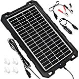 Solar Battery Charger Car, 7.5W 12V Solar Trickle Charger for Car Battery, Portable and Waterproof Solar Battery Maintainer, High conversion single crystal silicon Solar Panel car battery charger for