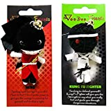 FROG SAC Voodoo Dolls Set of 2 - Yarn String Doll Great as Keychain, Charm for Purse, Backpacks, Office Accessories - Great Gifts (Kung Fu Fighter & Hero)