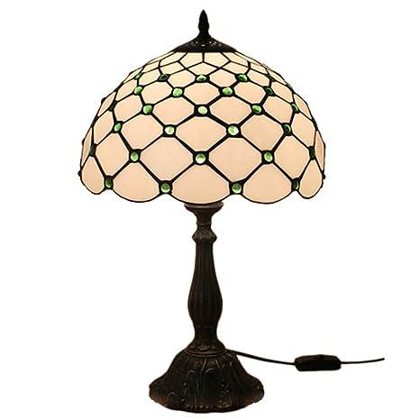 Fabakira Lampada Stile Tiffany 12 Pollici Vintage Pastorali Di Vetro Verde Macchiato Lampada Da Tavolo Da Letto Comodino