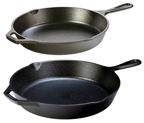 Lodge Seasoned Cast Iron 2 Skillet Bundle. 12' + 10.25' Set of 2 Cast Iron Frying Pans
