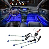 LEDGlow 4pc Blue LED Interior Footwell Underdash Neon Lighting Kit for Cars & Trucks - 7 Unique Patterns - Music Mode - 8 Brightness Levels - Auto Illumination Bypass Mode - Universal Fitment