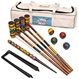 Vintage Wood Premium Croquet Set | 4-player Outdoor Backyard Family Game | Deluxe Set Includes Mallets, Balls, Steel Wickets, and Decorative Stake | Stores in Heavy Duty Canvas Carry Bag