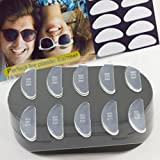 Gms Optical 5 Pair (Clear - 2 Pack) 1.8mm Anti-Slip Adhesive Contoured Soft Silicone Eyeglass Nose Pads with Super Sticky Backing -10 Pair