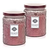 Dynamic Collections Aromatherapy Scented Candles - Great for Minimalistic Home Decor, Stress Relief, and Gift Set of Two 16 Ounce Mason Jar Candles (Rose Quartz)