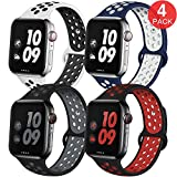 EXCHAR Sport Band Compatible with Apple Watch Band 44mm 42mm Breathable Soft Silicone Replacement Wristband Women and Man for iWatch Series 4 3 2 1 Nike+ All Various Styles M/L 4 Pack