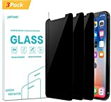 pehael Privacy Screen Protector for iPhone X iPhone Xs, Anti Spy Black Tempered Glass, Full Coverage, Case Friendly [3 Packs](5.8 inch)