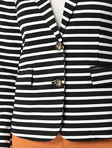 Allegra K Women's Notched Lapel Pocket Button Closure Striped Blazer 19 Fashion Online Shop gifts for her gifts for him womens full figure