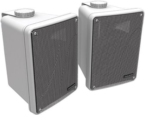Kicker KB6000 2-Way Full Range Indoor Outdoor Marine Speakers (Pair)   Weatherproof Patio, Sunroom, Garage, Poolside, In-Home   6.5 inch woofer, 2x5 inch horn tweeter   Quick Mounting System   White