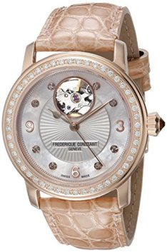Frederique Constant Women's FC310HBAD2PD4 Heart Beat Analog Display Swiss Automatic Beige Watch