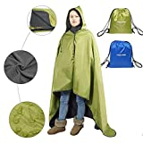 Fancywing Outdoor Stadium Hooded Blanket Waterproof Fleece Blanket Rainproof, Windproof Picnic Camping Backpacking Blanket Hooded Mat Rain Poncho Blanket Pet Blanket