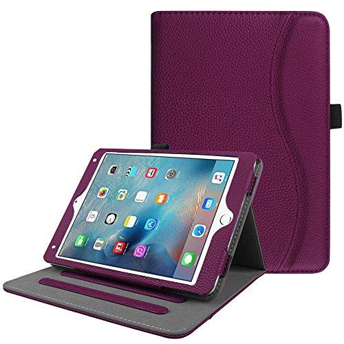 Fintie iPad Mini 4 Case [Corner Protection] - [Multi-Angle Viewing] Folio Smart Stand Protective Cover with Pocket, Supports Auto Wake/Sleep for Apple iPad Mini 4 (2015 Release), Purple