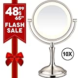 AmnoAmno LED Makeup Mirror-10x Magnifying,7.8' Double Sided Lighted Vanity Makeup Mirror with Stand, Touch Button Adjustable Light-Cord or Cordless (sliver)