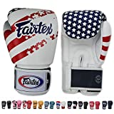 Fairtex Muay Thai - Boxing Gloves. BGV1 - Color: Classic Brown, Emerald, Black, White, Blue, Red. Size: 10 12 14 16 oz. Training, Sparring Gloves for Boxing, Kick Boxing, MMA (USA Flag, 10 oz)