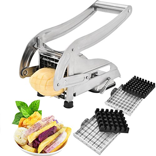French Fry Cutter-Professsional Potato Slicer Vegetable Chopper Dicer with 2 Interchangeable Stainless Steel Blades and Non-Slip Suction Base for Vegetables Like Potato, Cucumber, Onion and More