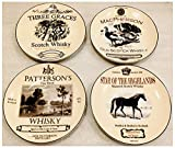 Set of 4 Scotch Whisky Logo Cheese Plates 6.5 Inch Diameter for Restoration Hardware