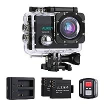 AUKEY Action Cam 4K Ultra HD, WiFi e 2.4 GHz Telecomando, Impermeabile, Grandangolo 170°, con Due Batterie, Caricatore di Batterie e Kit Accessori