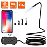 Wireless Endoscope, KZYEE 5.5mm WiFi Borescope Inspection Camera, 2200mAh 2.0M 1080P HD Semi-Rigid Snake Camera with Light for Android and iOS Smartphone, iPhone, Samsung, Tablet(11.5FT)