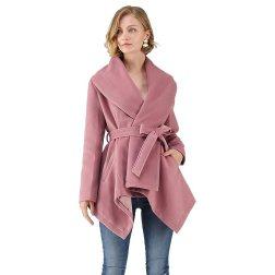 Chicwish Women's Turn Down Shawl Collar Open Front Long Sleeve Pink Asymmetric Hemline Wool Blend Coat