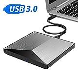 External CD DVD Drive, IVKEY USB 3.0 Portable CD DVD /-RW Drive Slim DVD/CD ROM Rewriter Burner Writer, High Speed Data Transfer for MacBook Pro Laptop/Desktops Win 7/8.1/10 and Linux OS (Silver)