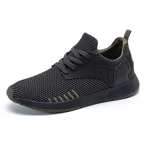 YIRUIYA Men's Breathable Knit Running Sport Tennis Athletic Walking Gym Slip on Shoes Sneakers, 8 M US, Black+Green