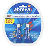 Abreva Docosanol Cold Sore Treatment 10% Cream Tube, Only FDA Approved Treatment for Cold Sore and Fever Blister, 2 Gram Tube (Pack of 2)