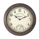 Smart Garden Bickerton Indoor Outdoor Garden Clock 12' / 30cm   Temperature Gauge Wall Clock