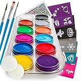 B&E Artt Face Painting Kit for Kids & Adults | Professional Face & Body Paints in 12 Vibrant Colors Safe for Sensitive Skin | 40 Large Stencils, 3 Brushes & 2 Sponge Pads | Bonus Rhinestone Stickers