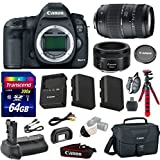 Canon 5D Mark III 22.3 MP Full Frame CMOS with 1080p Full-HD Video Digital SLR Camera with Canon EF 50mm f/1.8 STM Lens + Tamron 70-300mm Zoom Lens + Transcend 64GB Memory Card + Canon Deluxe Case