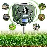 Ultrasonic Animal Repeller & Solar Pest Repellent - 30ft Motion Sensor w/ Flashing LED Light - Waterproof - Effective & Humane Outdoor Deterrent for Raccoon, Rabbit, Bird, Deer, Cat, Dog, Squirrel