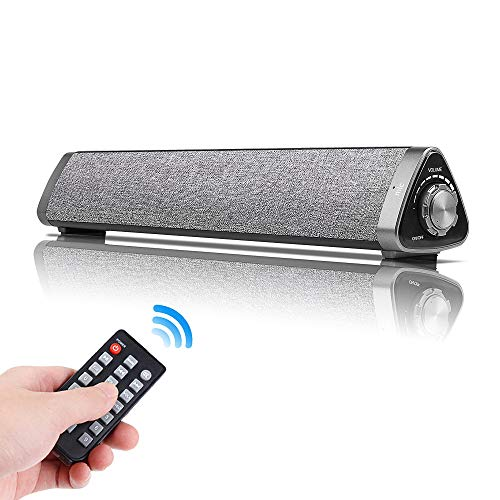 Bluetooth Sound Bar Wired and Wireless Home Theater TV Triangle Speaker Bar with Remote Control,TF Card- Surround SoundBar for TV/PC/Phones/Tablets, 2 X 5W Compact Sound Bar 2.0 Channel