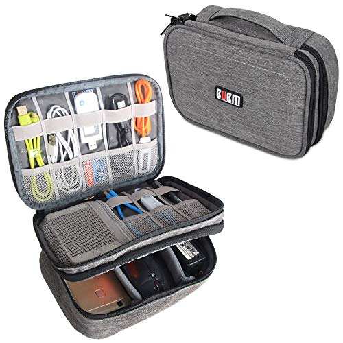 BUBM Electronic Organizer, Double Layer Travel Gadget Storage Bag for Cables, Cord, USB Flash Drive, Power Bank and More-a Sleeve Pouch for 7.9' iPad Mini (Medium,Denim Gray)