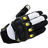 Crystalzhong Work Glove Touchscreen Protective Motorcycle Gloves Cycling Mountain Bike Men Women Gloves (Color : White, Size : L)