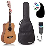 Acoustic Guitar Bundle Junior (Travel) Series by Hola! Music with D'Addario EXP16 Steel Strings, Padded Gig Bag, Guitar Strap and Picks, 3/4 Size 36 Inch (Model HG-36N), Natural Satin Finish