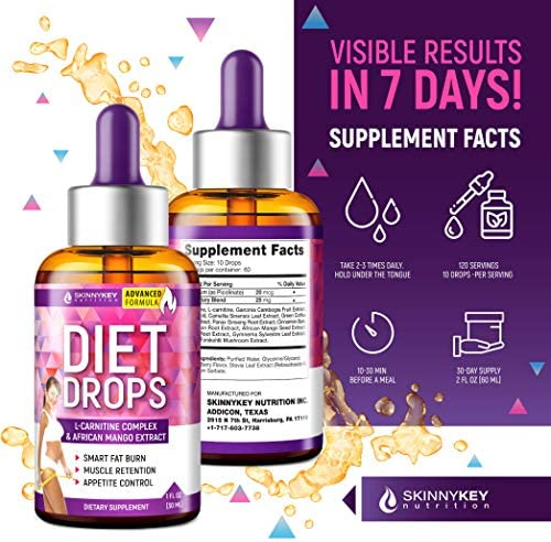 Weight Loss Drops for Women & Men - Metabolism Booster Diet Drops - Made in USA - Appetite Suppressant & Fat Burner with L-Carnitine & African Mango - Metabolism Drops for Fat Loss 4