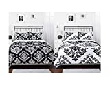 Black White Damask Reversible Girls Teens Full Comforter Set