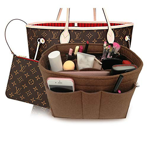 LEXSION Felt Insert Fabric Purse Organizer Bag, Bag Insert in Bag with Zipper Inner Pocket Brown L