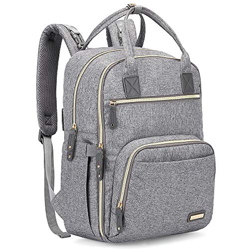 Diaper Bag Backpack, iniuniu Large Unisex Baby Bags Multifunction Travel Back Pack for Mom and Dad with Changing Pad and Stroller Straps, Gray