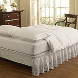 EasyFit Wrap Around Eyelet Ruffled Bed Skirt (Queen/King), White