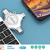 [MFI Certified] 128GB iPhone Flash Drive for iPhone 5/6/7/8 XR XS MAX X ipad Mac pro 4 in 1 Multi Functional Memory External Storage for iOS Android Phones,iPad Air,New iPad Pro USB C Devices