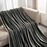Vonty Throw Size Dark Grey Fleece Blanket Plush Flannel Throw Blanket for Couch Bed Sofa (Lightweight, Ultra Soft, Wary & Cozy)