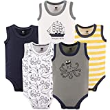 Hudson Baby Unisex Baby Sleeveless Cotton Bodysuits, Octopus Sailor, 5-Pack, 6-9 Months (9M)