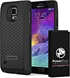 PowerBear Samsung Galaxy Note 4 Extended Battery [7500mAh] & Back Cover & Protective Case (Up to 2.3X Extra Battery Power) - Black & Screen Protector Included